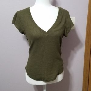 Free People Olive Waffle Knit Tee